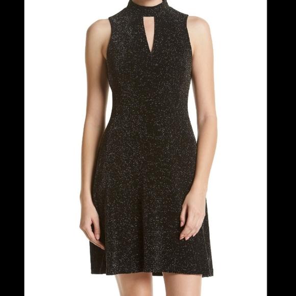 Jessica Simpson Black Gold High Neck Dress Sz 8